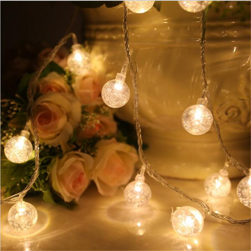 4M 20 LED Crystal Balls String Lights Holiday Wedding Christmas Outdoor Garland Home Decoration Night Lamp Fairy Lights