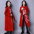 2017 осень и зима новый ретро Китайский Ветровка пальто Феникс вышивка однобортный Пластина пряжки кардиган куртки женские