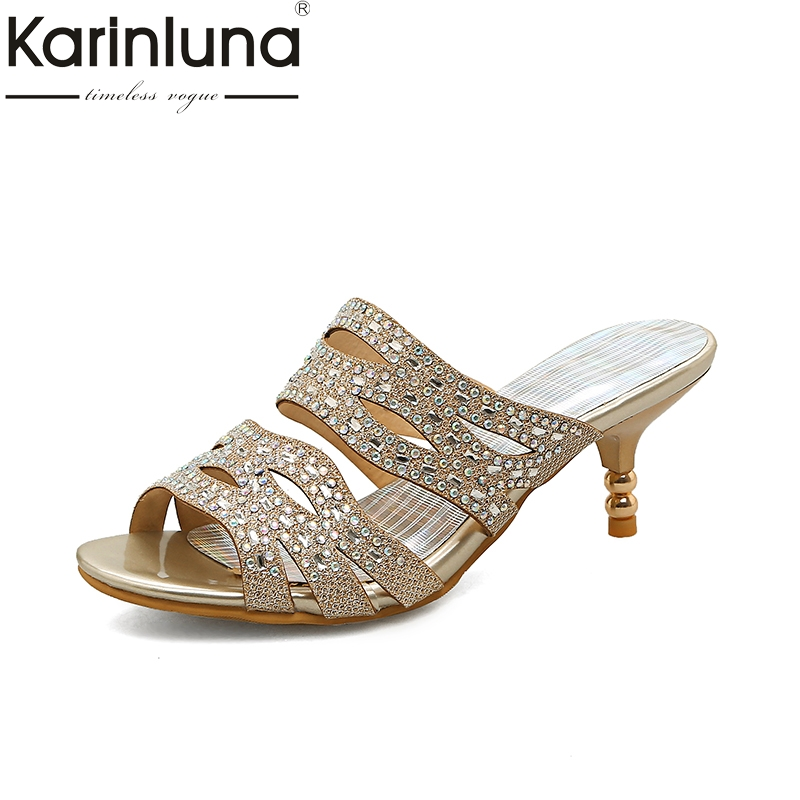 KARINLUNA brand shoes woman plus size 32-45 bling upper women shoes comfortable med heels summer mules pumps woman shoes