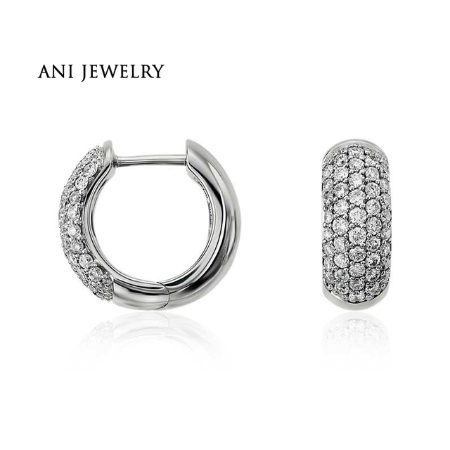ANI 14k White Gold Women Circle Earrings 0.57 ct Certified I/S1 Natural Diamond Bridal Jewelry High Quality Earrings Customized