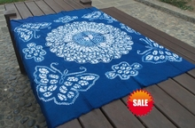Japanese Bandhani Tie dye Round flowers butterfly adornment / Handmade Shibori Square Table Cloth Many Uses Mats pads Cover