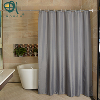 Sinogem Gray Polyester Bathroom Waterproof Mold Resistant Anti Bacterial Shower Curtains With Plastic Hooks
