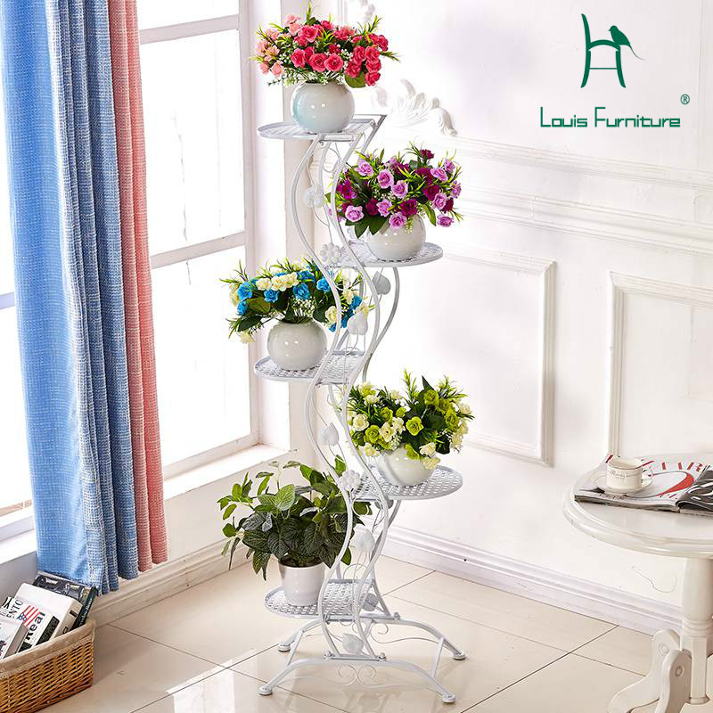 Louis Fashion Plant Shelves Balcony Flower Rack Multi-storey Living Room Office Floor Type