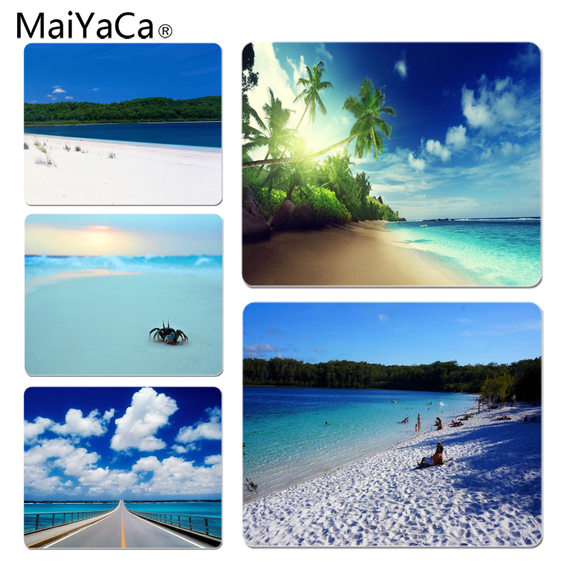 MaiYaCa Vintage Cool Beach And Crab Durable Rubber Mouse Mat Pad Size for 18x22cm 25x29cm Rubber Rectangle Mousemats