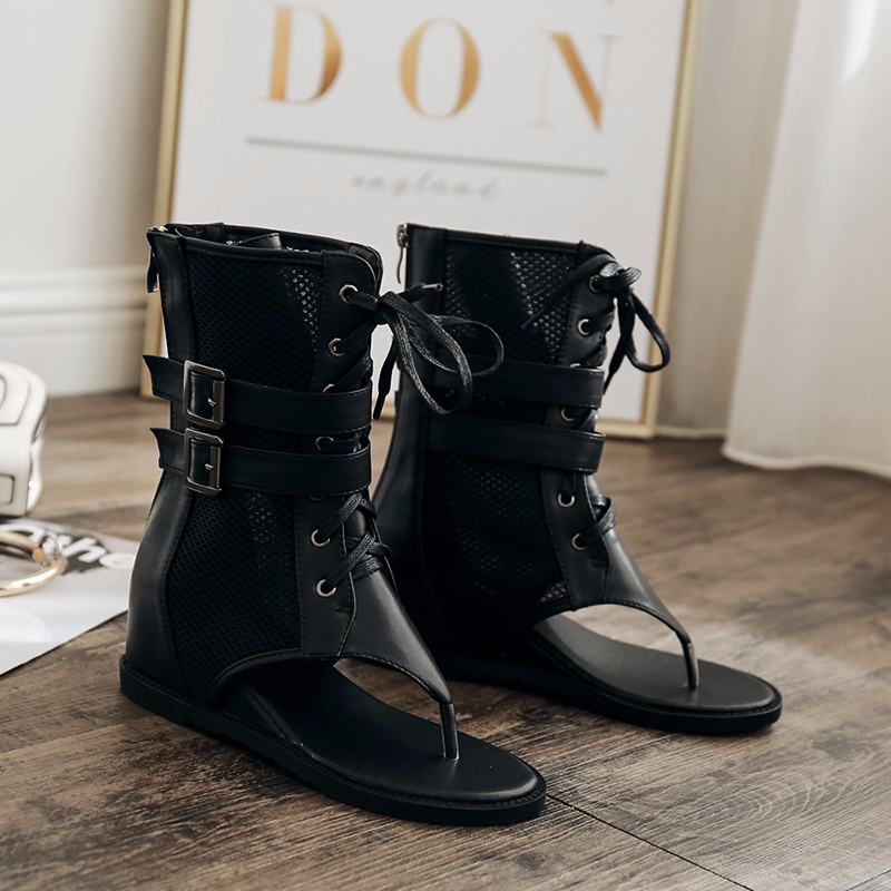 QWEDF Sexy Zwarte Vrouwen Platte Zomer Laarzen 2019 Hot Rits Vrouwen Schoenen Open Teen Sandalen Lace Up Enkel Laarzen Zomer schoenen SY-48