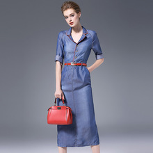 Autumn denim dress red edging denim dress half-sleeved belt waist slit longuette dress breathable and cozy dress NW16C6238 button front denim slit dress