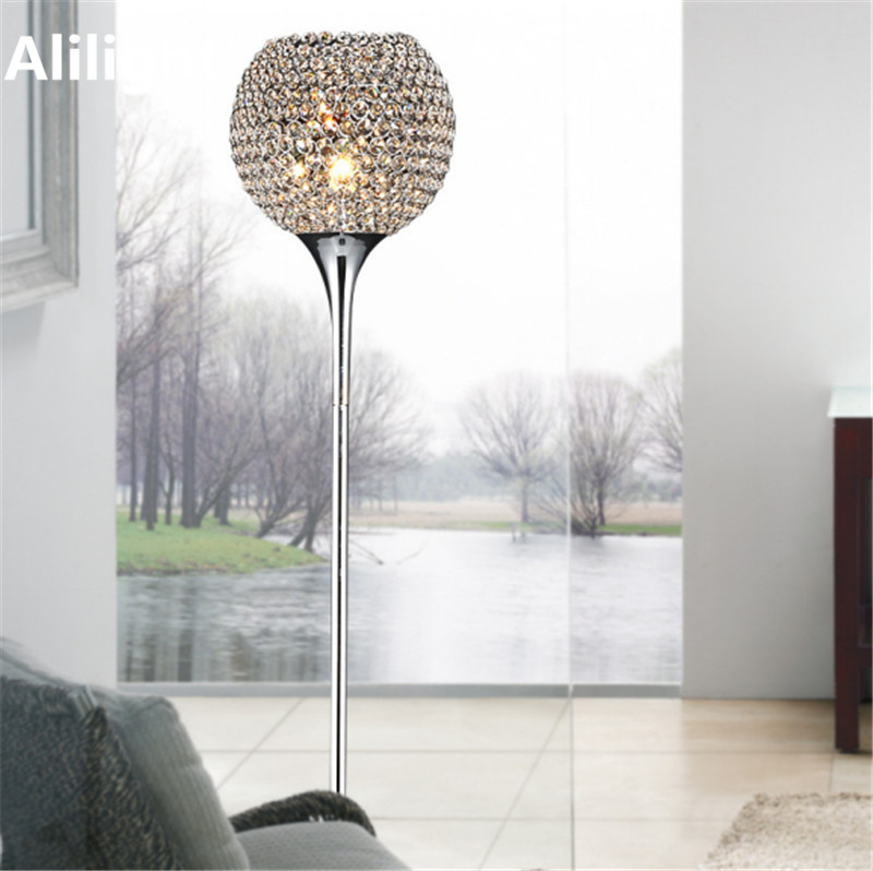 Modern Elegant Lustre Crystal Floor Lamp Silver Gold LED E27 Lamps Home Lighting Light For Foyer Study Room Dining Living