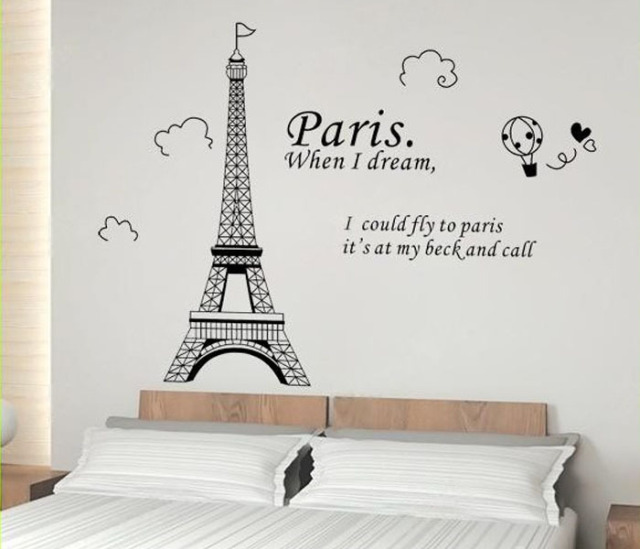 Vinilos Paredes Paris Art Eiffel Tower Wall Stickers Quotes
