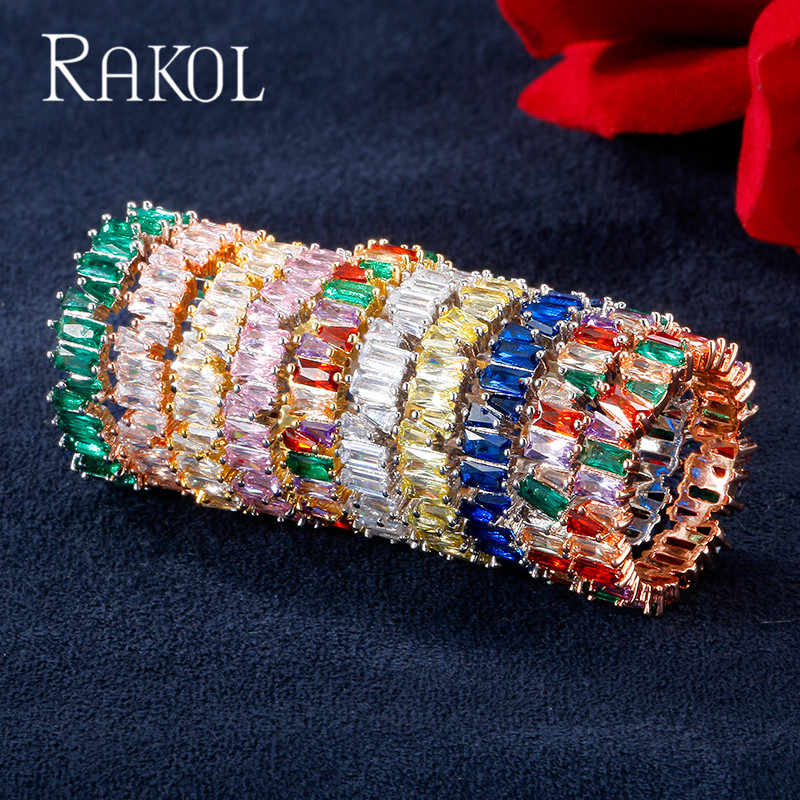 RAKOL NEW Fashion Luxury Charm AAA Baguette Cubic Zirconia Wedding Ring for Women Cz Party Wedding Jewelry