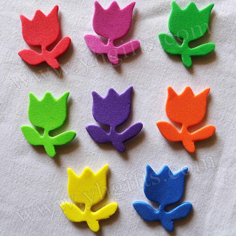 50PCS/LOT.Mixed color tulip foam stickers,Decorative stickers,Wedding ornament,DIY crafts,Home decoration,Kids crafts.Foam shape