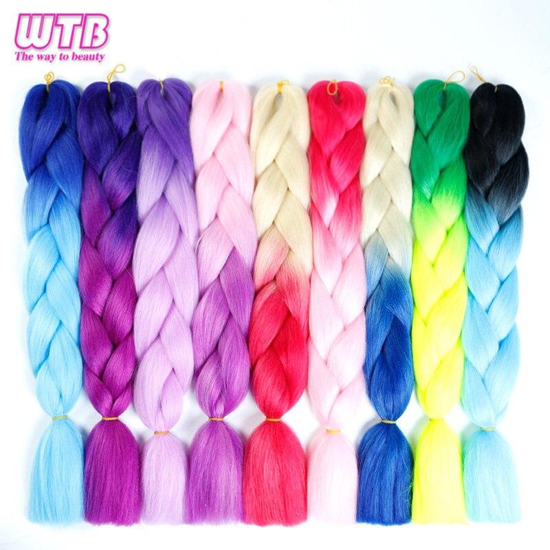 Braiding Hair 1 piece 24 inch Jumbo Braids 100g/piece Synthetic ombre Kanekalon Fiber Hair Extensions WTB