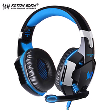 KOTION EACH G2000 Computer Headphones Casque Gamer Stereo Deep Bass Wired LED Headset Gaming Headphones with Mic For PC zapet gaming headphone with led light wired hifi bass stereo headset adjustable comfortable gamer headphones for pc computer