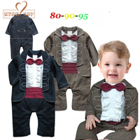 NYAN CAT Baby Gentleman New Jumpsuits Infant Toddler Black Khaki Solid Long Sleeve Bow Tie Rompers