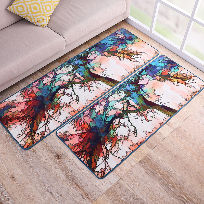 60x150cm High Personality Oil Painting Patterns Entrance Doormat Floor Mat Corridor Carpet Slip Resistant Kitchen