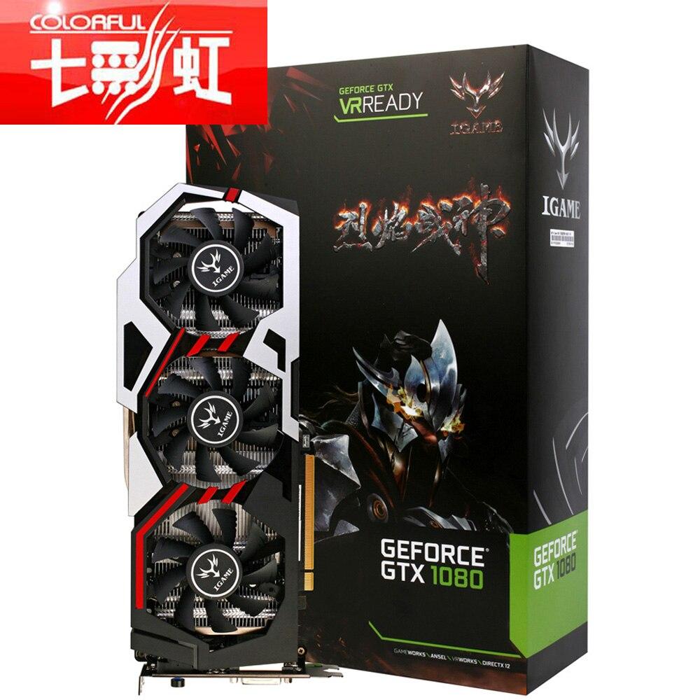 красочные igame nvidia geforce gtx 1080 gpu 8 гб 256 бит игровой gddr5x pci-e x16 3.0 видеокарта dvi, hdmi + 3 * dp порт 3 Установка вентилятор