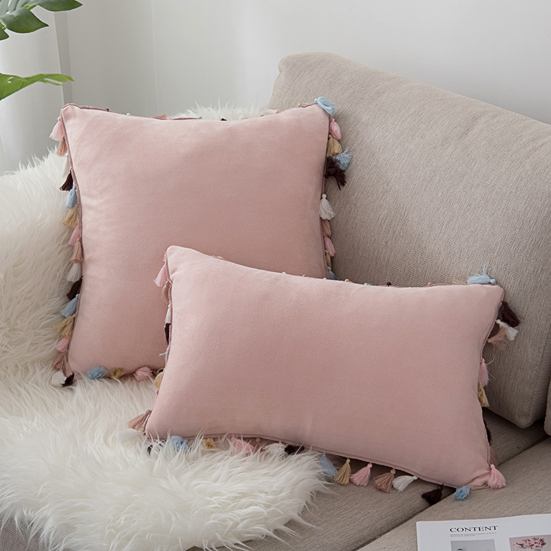New Style Nordic Suede Fabric Colorful Tassels Cushion Cover Sofa Office Pink Throw Pillow Cover Decorative Pillowcase