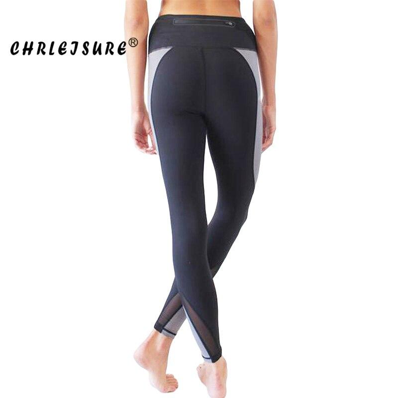 CHRLEISURE WomenS Leggings 2018 Polyester High Waist Long Jegging Net Yarn Splicing Pocket Slim Workout Legging Women