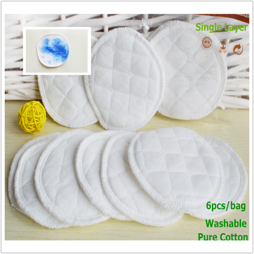 6pcs Single Layer Washable Nursing Breast Pads Cotton Soft Absorbent Breastfeeding Pads spill prevention breast pad For Pregnant