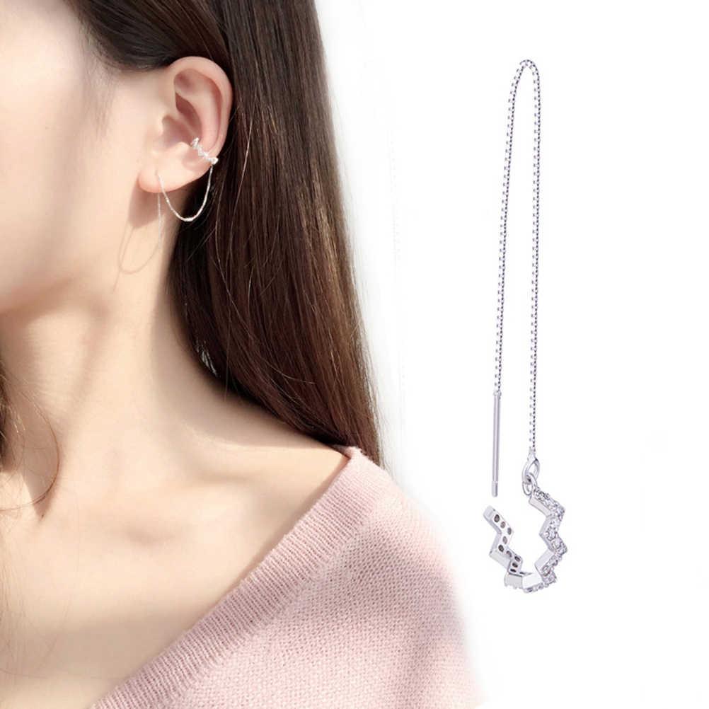 6e48affdb ... PIXNOR 925 Sterling Silver Wave Cuff Chain Dangle Earrings Wrap Tassel  Earrings for Women Jewelry ...