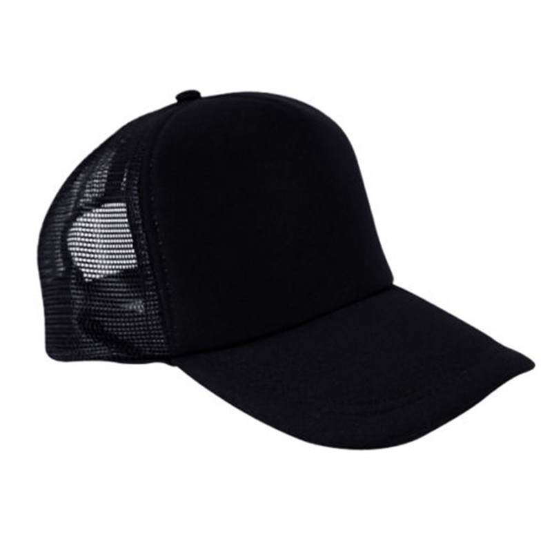 Black Mens Unisex Ladies Women Baseball Mesh Cap Rapper Trucker Snapback Hat