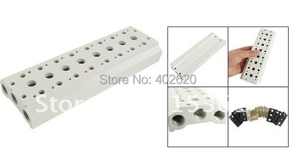 Free Shipping Ceramic Block Manifold Solenoid Pneumatic Control Valve Base 18 Stations, 18 way manifold for 4V series soldnoid 4v series 24v dc solenoid valve
