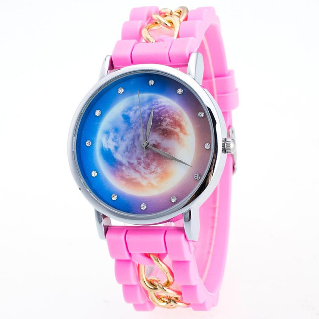 Women Girls Watch Starry Sky Pattern Silicone Band Analog Alloy Quartz Wrist Wat