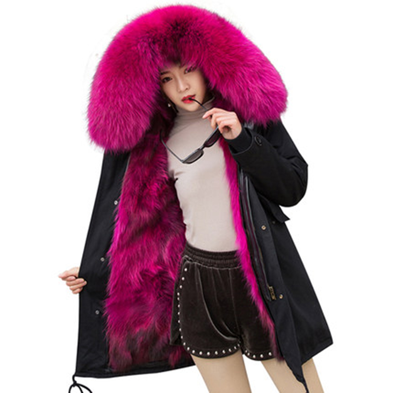 thick colorful   parka   women 2018   parkas   mujer plus size large real raccoon fur collar inner warm loose female jacket women