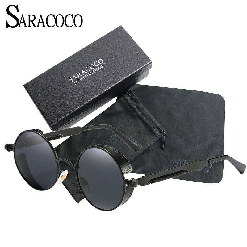 329815d2e4 SARACOCO Fashion Brand Designer Steampunk Sunglasses Men Polarized 2017  Vintage Round Polaroid Lens Sun Glasses Oculos SR105-in Sunglasses from  Apparel ...