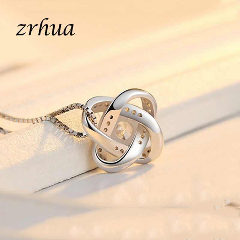 ZRHUA Original 925 Sterling Silber Schmuck Sets Personalisierte Anhänger Halskette Ohrringe Set für Frauen Weibliche CZ Weihnachten Geschenk