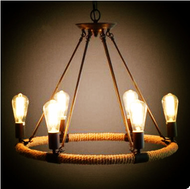 Rustic Style Retro Lampe Vintage Rope Lamp Loft Industrial Lighting Pendant Lights Edison Light Fixture Lamparas Colgantes