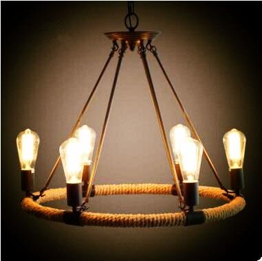 Rustic Style Retro Lampe Vintage Rope Lamp Loft Industrial Lighting
