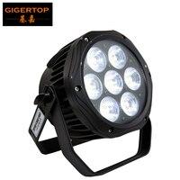 Gigertop novo mini fundição 7x18 w 6 cores silencioso led par luz sem ventilador som tyanshine leds duplo suporte dmx512 controle