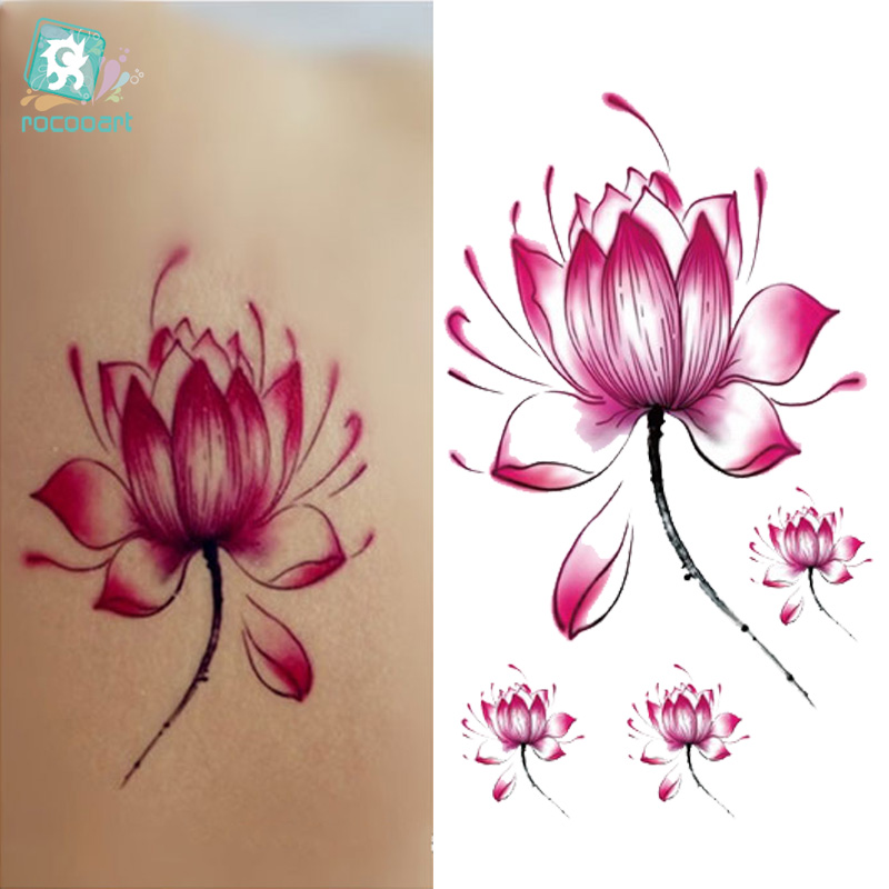Rocooart RC2228 Waterproof Disposable Tattoo Stickers Fresh Water Lily Flower Floral Pattern Temporary Tattoo Sticker For Women