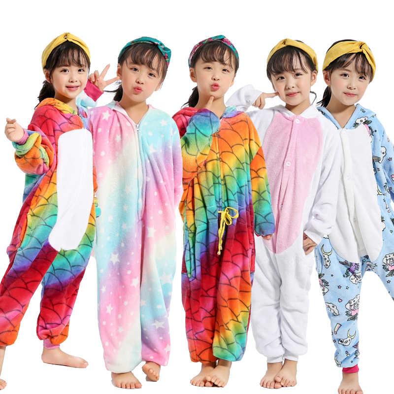 Новые детские пижамы фланель Комбинезоны с капюшоном костюмы аниме Единорог  панда пижамы для мальчиков и девочек 40f7d46046eca