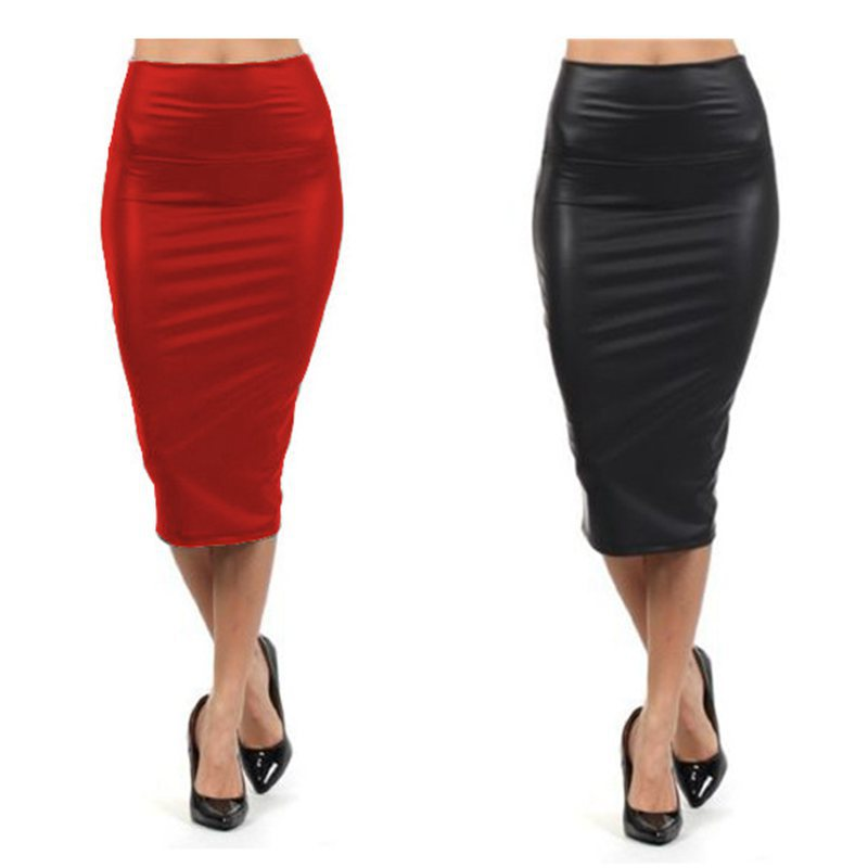 999d63625c High waist Leather Skirt XL XXL XXXL Black red sexy Pencil skirts middle  long Casual mermaid skirt party bar club travel