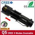 100% Authentic POCKETMAN 2000 Lumens 3-Mode CREE Q5 LED Flashlight Zoomable Focus Torch by 1*14500 or AA Free shipping