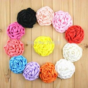 """Image 3 - 200 stks/partij 25 Kleur Groothandel Supply 3 """"Satin Ruches Rolled Rozetten Boutique Puff Haar Bloemen U Pick Kleur FH39"""
