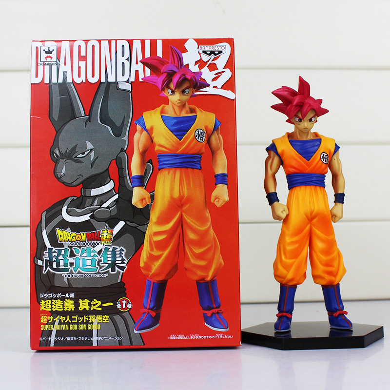 1pcs Dragon Ball Z Son Gokou Figure Super Saiyan God Son Goku PVC Action Figure Toy Collectible Model Doll anime dragon ball super saiyan 3 son gokou pvc action figure collectible model toy 18cm kt2841