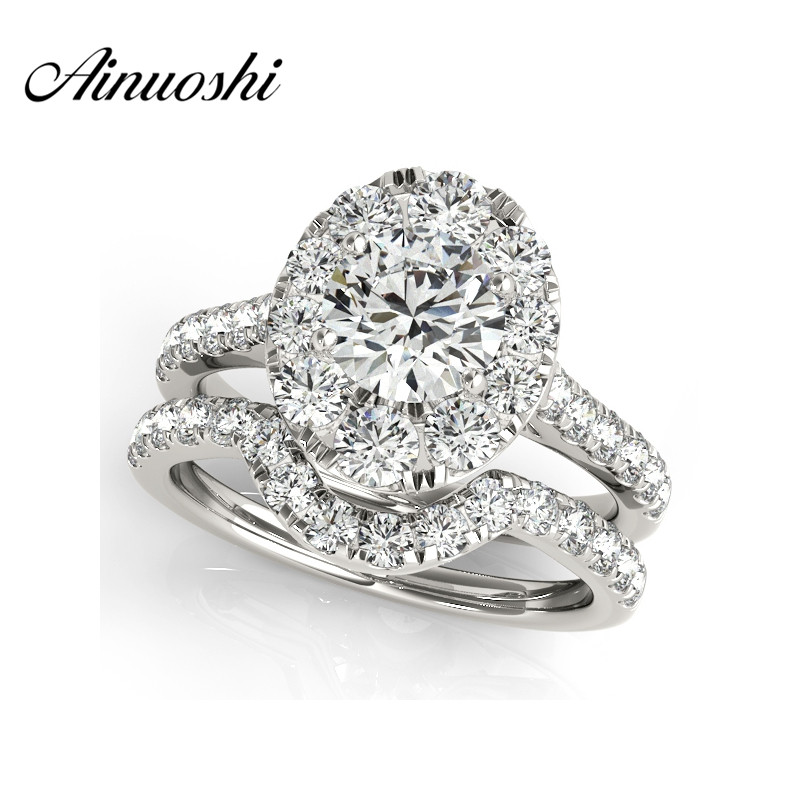 AINUOSHI Luxury 925 Sterling Silver Women Engagement Ring Sets 1 Carat Halo Round Cut Wedding Anniversary