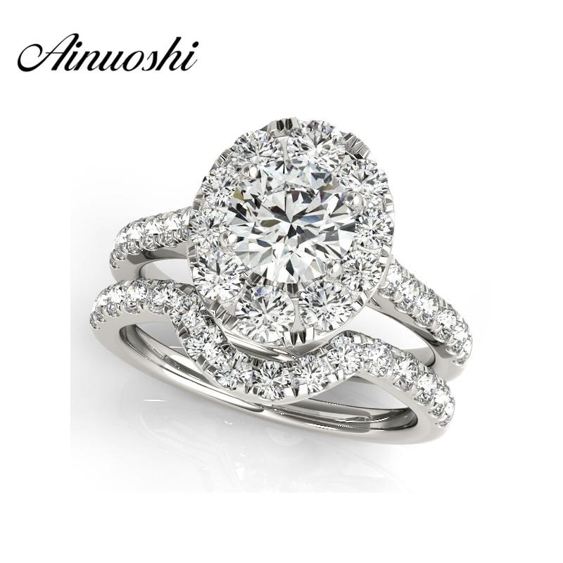 AINUOSHI Luxury 925 Sterling Silver Women Engagement Ring Sets 1 Carat Halo Round Cut Wedding Anniversary Princess Ring Set Gift