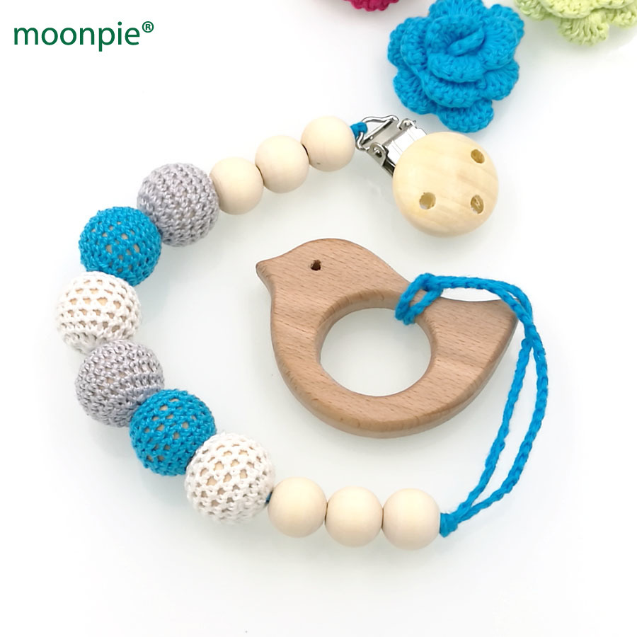 Nipple & Accessories Feeding Sky Blue Baby Teether Baby Pacifier Clip Holder With Beech Bird Shaped Pendant Dummy Holder Crochet Beads New-born Gift Nt133