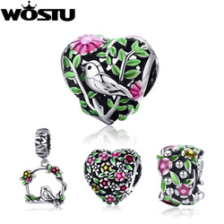 WOSTU Hot Sale Real 925 Sterling Silver Bird in the Woods Charm fit Beads Bracelet Fashion Original DIY Jewelry Gift