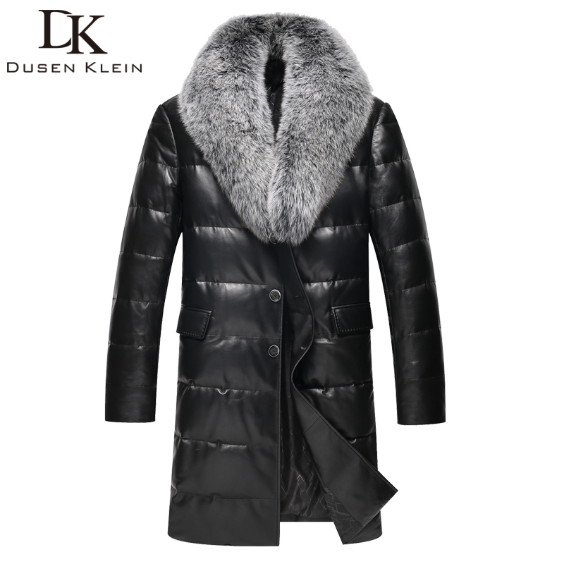 2017 Brand long down jacket men Real sheepskin duct down Slim style Nature fox collar winter leather jacket 61I6095
