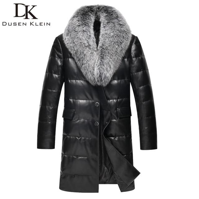 2016 Marca conducto de largo por los hombres chaqueta de piel de oveja Real abajo Naturaleza estilo Delgado cuello de zorro chaqueta de cuero de invierno 61I6095