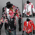 2015  Autumn Chinese style Simple red Flower color printed jackets men casual slim joker jacket Outerwear for men M-2XL