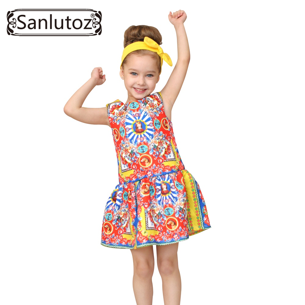 Sanlutoz Girls Clothes Brand Girls Dress Princess Party Kids Children Clothing Toddler 2017 Kids Fun hurave new arrival girls tassel sweater children fashion kids clothing brand england style toddler clothes