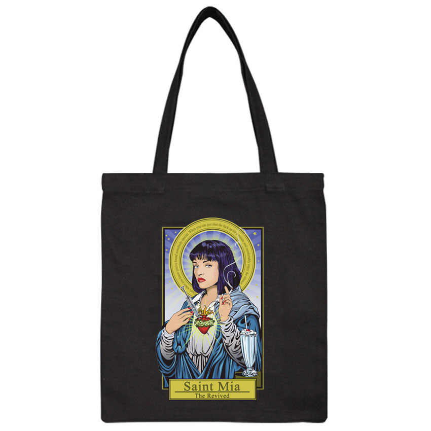 Casual shoulder  shopping bag Pulp Fiction print girls hand bag women Stain Mia Wallace  Tote Bag For Women Shopper Bags