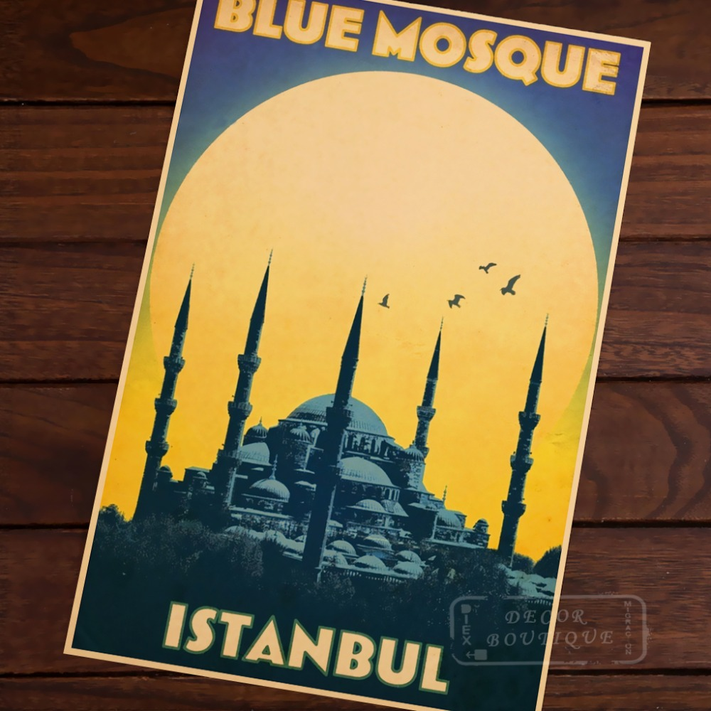 <font><b>Istanbul</b></font> Buildings World Travel Room Frame Vintage Kraft Decorative Poster DIY Wall Canvas Sticker Delicate Home Bar Decor Gift image