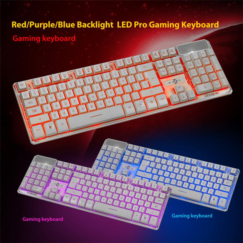 Reliable LED Gaming Wired 2.4G keyboard And 3200DPI Mouse Set to Computer Multimedia Gamer r horse fc 9033 2 4ghz wireless 104 key keyboard 800 3200dpi mouse set white light grey