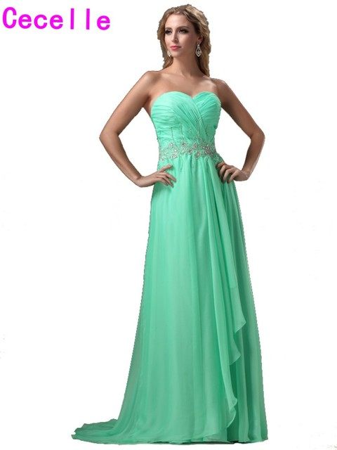 99358e8515 2019 Designer Long Jade Evening Dresses With Train Sweetheart Beaded  Chiffon Women Teens Formal Prom Party Evening Gowns Real